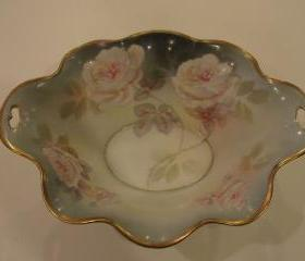 Elegant ROSES Decorated RS GERMANY RS Prussia Porcelain Footed BOWL