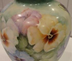 Heinrich Germany Large Porcelain Numbered Artist Signed Hand Painted Pansy Vase